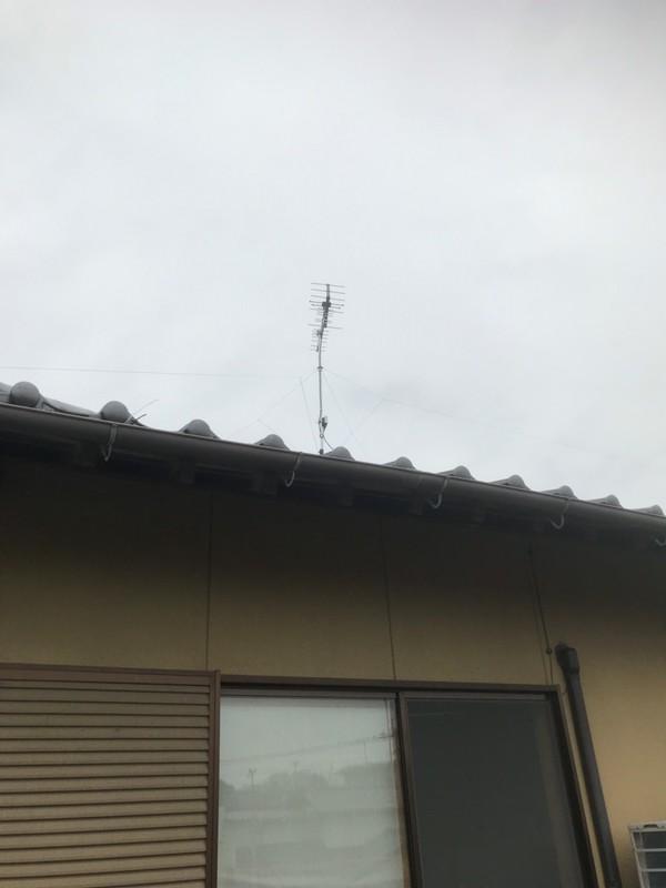 2階屋根馬アンテナ工事